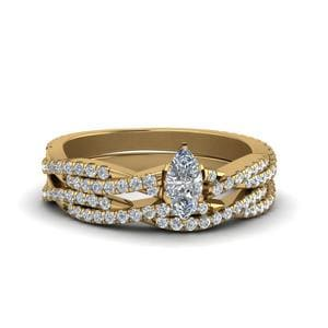 Marquise Cut Simple Diamond Twisted Vine Bridal Ring Sets In 14K Yellow Gold