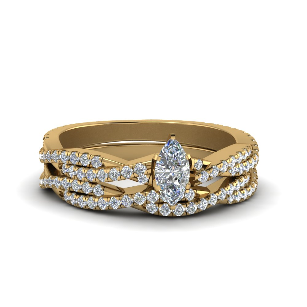 Marquise Cut Simple Diamond Twisted Vine Bridal Ring Sets In 18K Yellow Gold