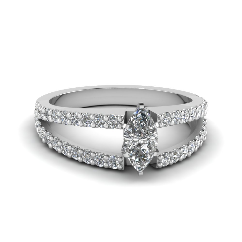 Marquise Cut Split Band Engagement Ring