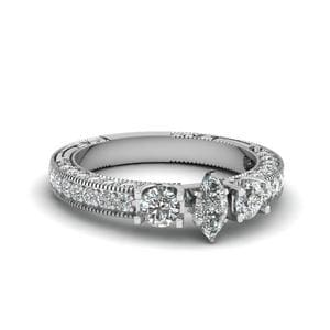 Marquise Cut Stone Accented U Prong Diamond Vintage Engagement Ring In 18K White Gold