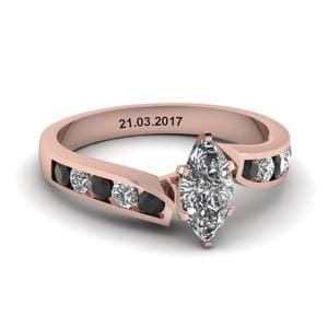 Unique Swirl Marquise Engagement Ring With Black Diamond In 18K Rose Gold