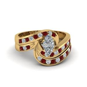 Curved Ruby Wedding Ring Set