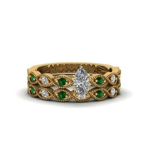 Emerald Infinity Twist Wedding Set
