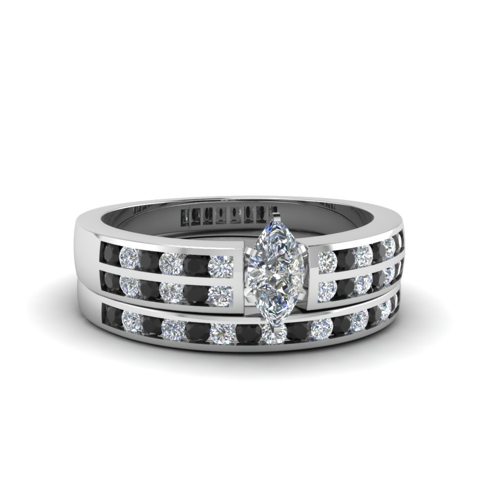 2 Row Wedding Set With Black Diamond