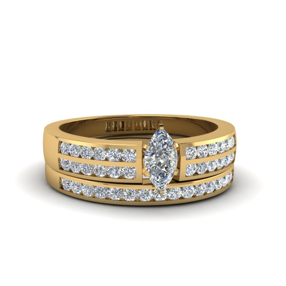 Marquise Cut Two Row Channel Diamond Bridal Set In 14K Yellow Gold