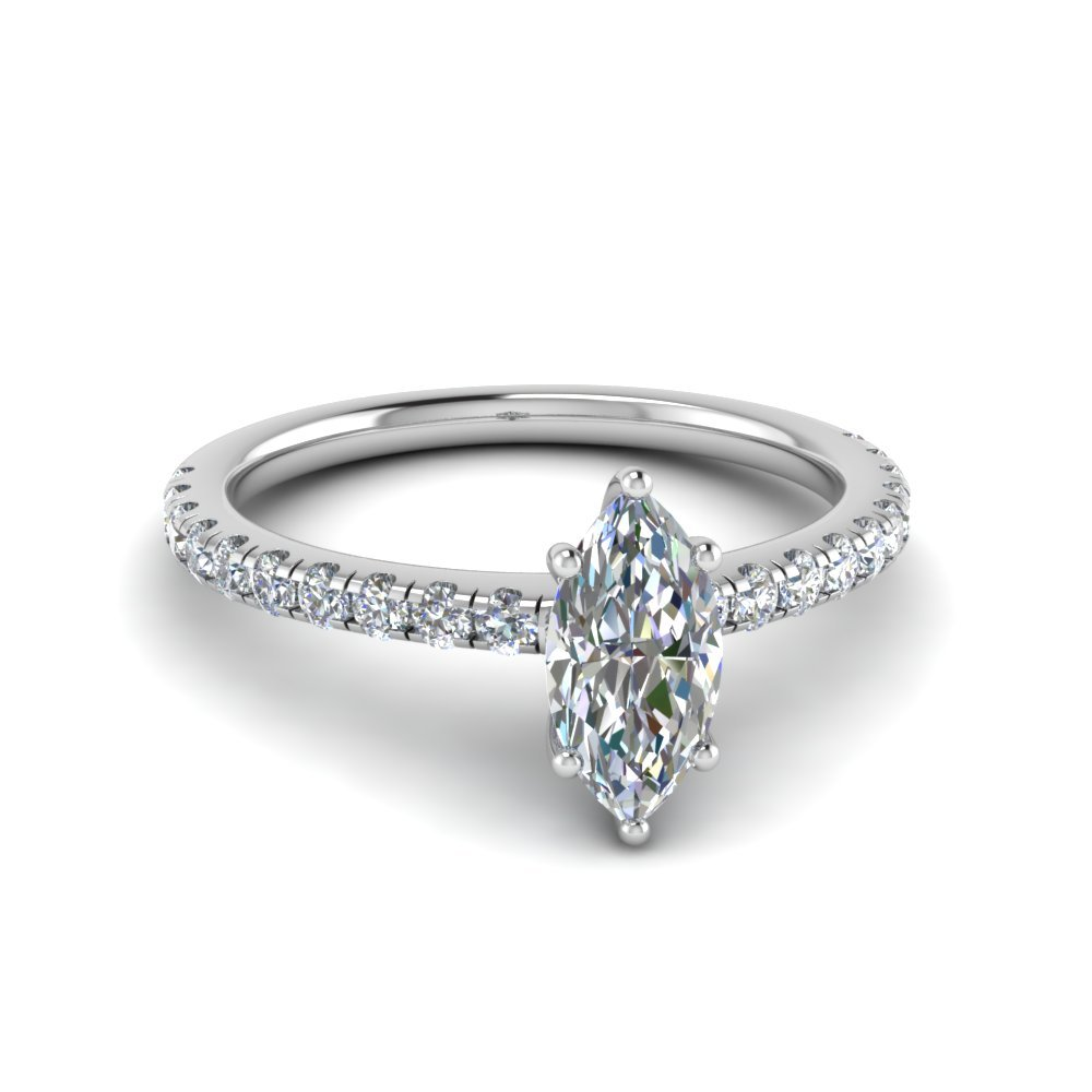 Marquise Cut U Prong Diamond Ring In 18K White Gold