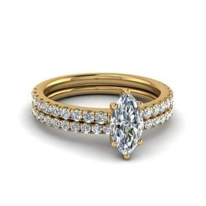 Marquise Cut U Prong Diamond Wedding Ring Set In 14K Yellow Gold