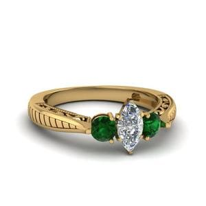 Filigree Emerald Engagement Ring