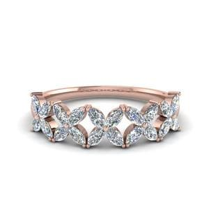 14K Rose Gold Unique Diamond Band