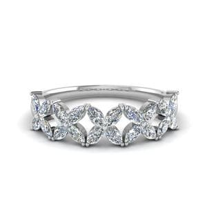 Marquise Diamond Daisy Band In 14K White Gold