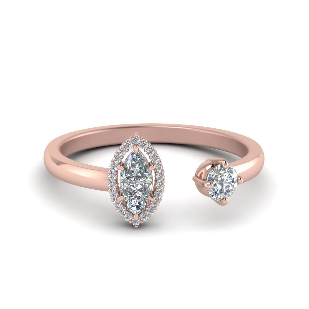 Marquise Diamond Two Stone Open Ring