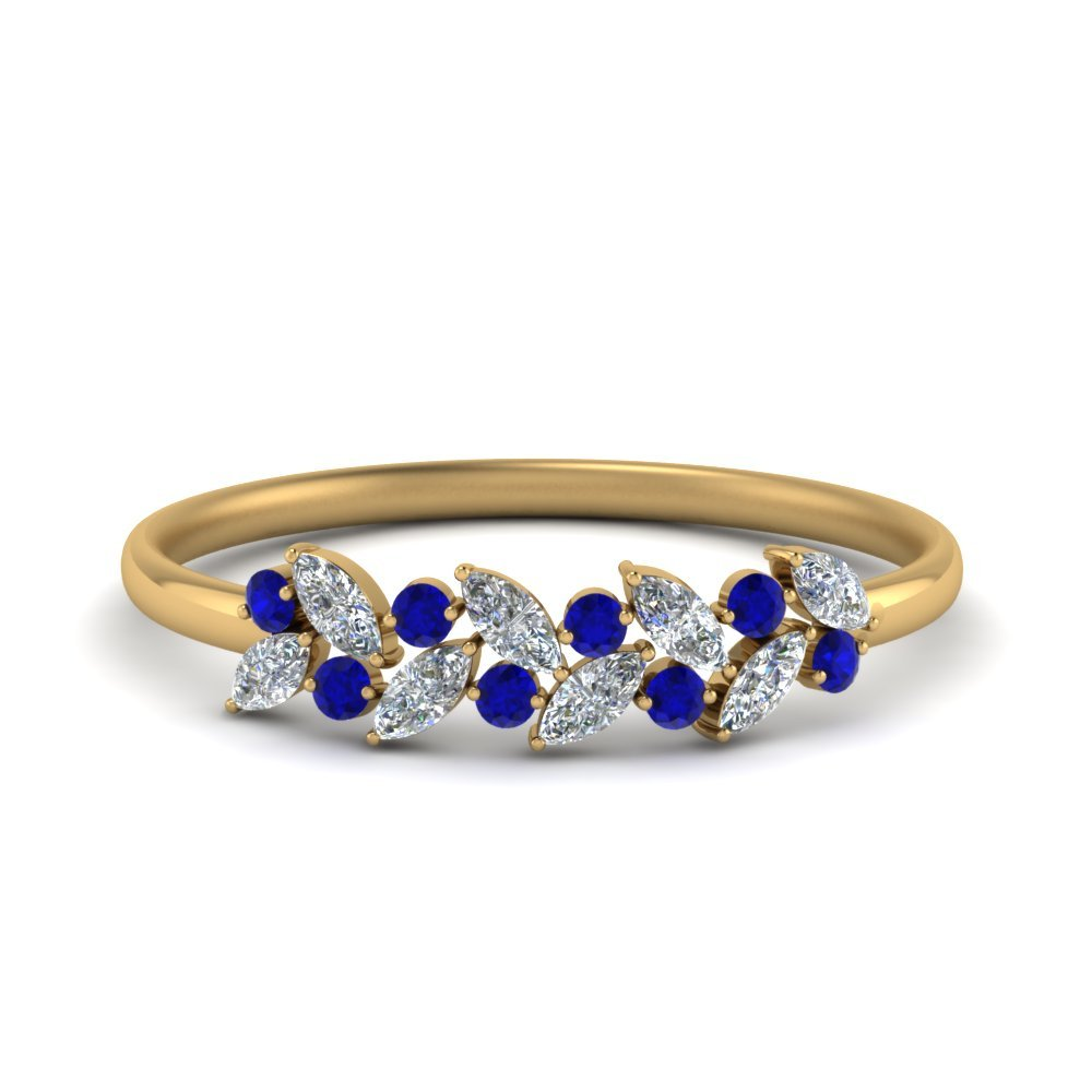 Sapphire With Marquise Diamond Ring