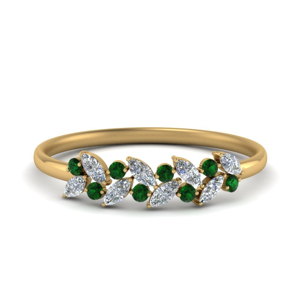 Diamond Anniversary Ring With Emerald