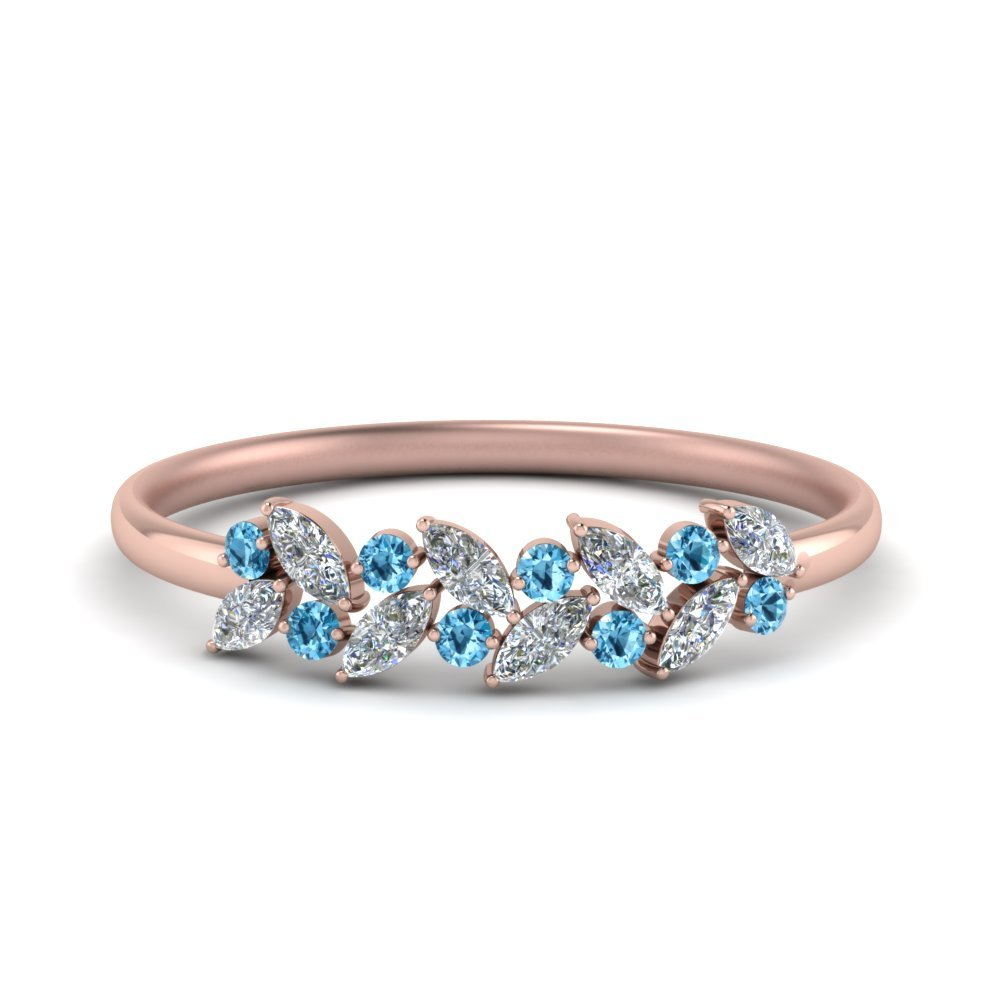 Blue Topaz Marquise Wedding Ring