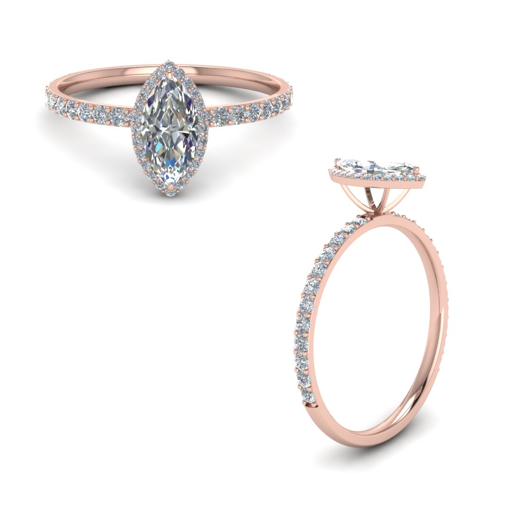 Marquise Halo Diamond Ring In 14K Rose Gold