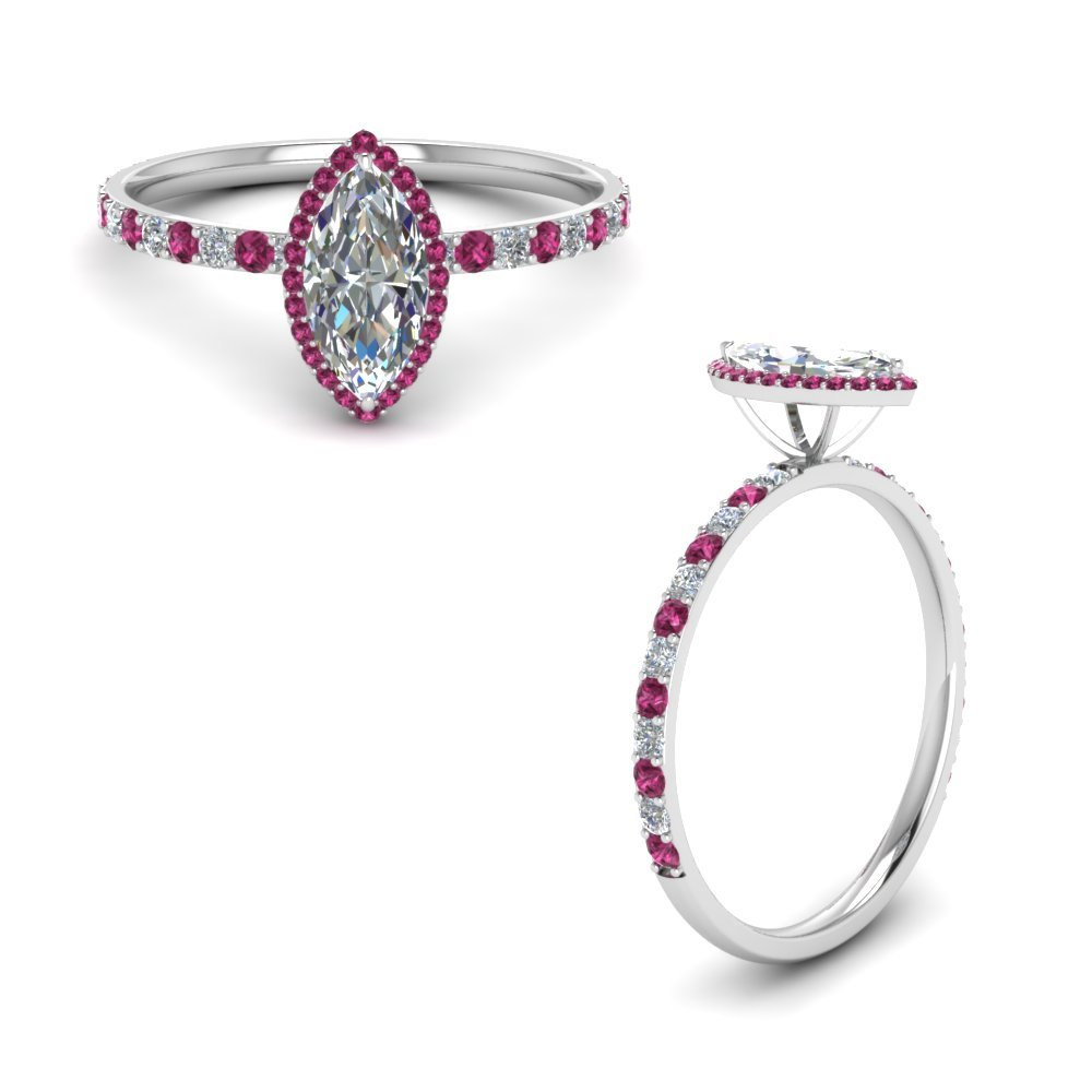 Pink Sapphire Halo Petite Ring