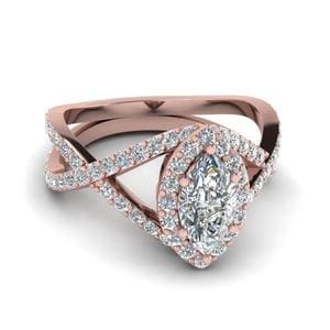 Marquise Halo Split Diamond Ring