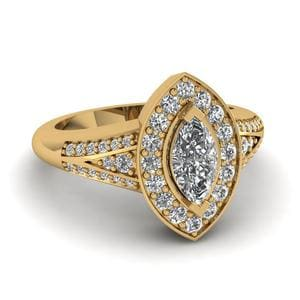 Marquise Halo Split Ring