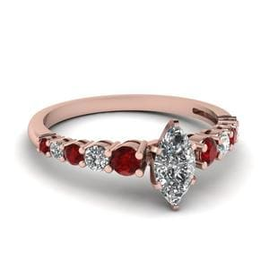 Graduated Marquise Diamond Ring With Ruby In 18K Rose Gold