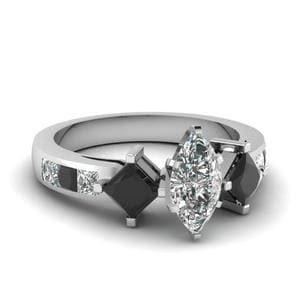 Marquise Black Diamond Ring