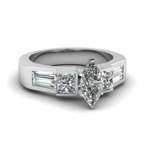 Art Deco Marquise Diamond Engagement Ring In 18K White Gold