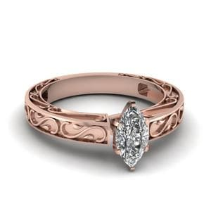Carved Marquise Diamond Solitaire Engagement Ring In 18K Rose Gold