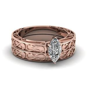 Carved Marquise Diamond Solitaire Wedding Ring Set In 18K Rose Gold