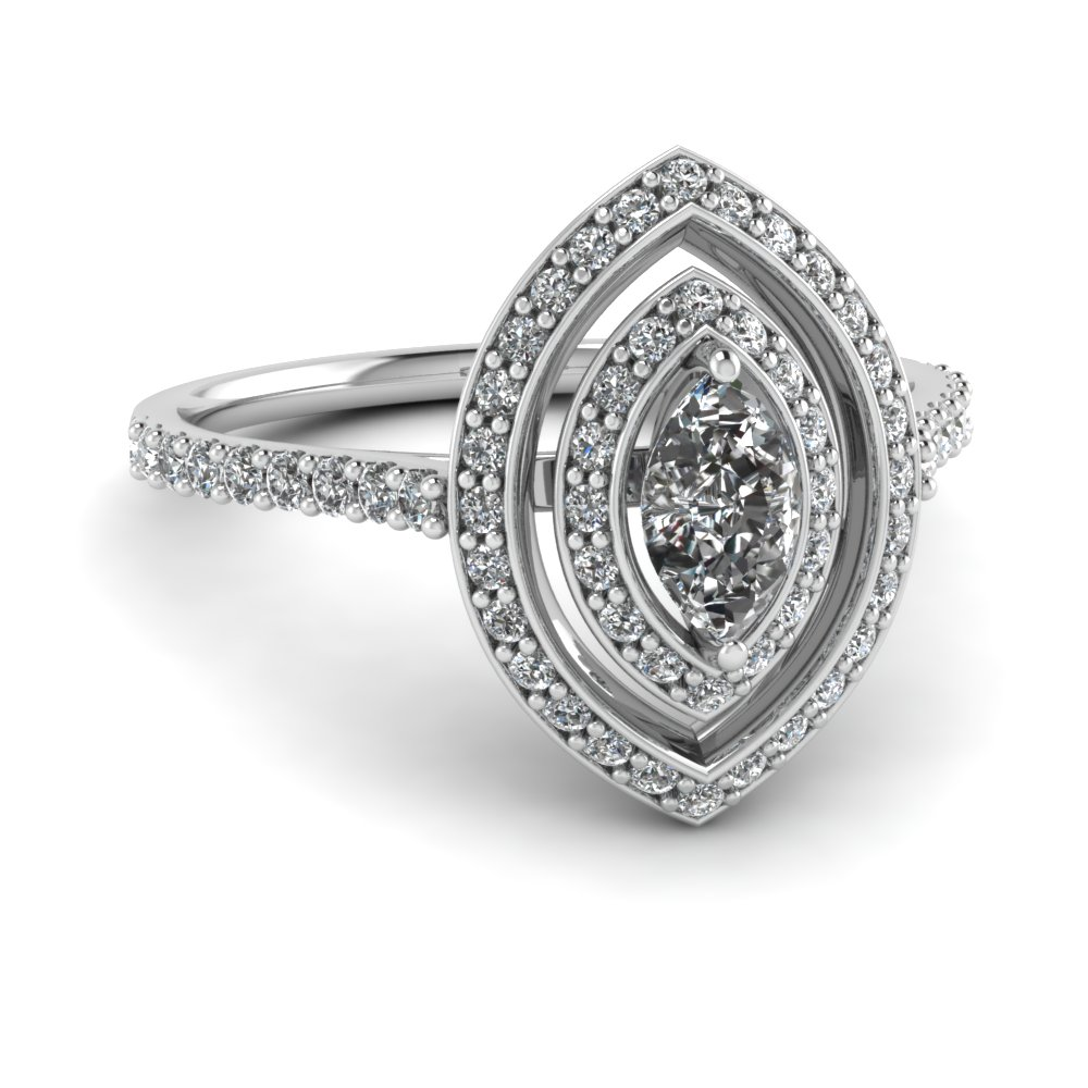 Marquise Double Halo Diamond Ring