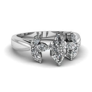 Marquise Shaped Diamond Engagement Ring In 14K White Gold