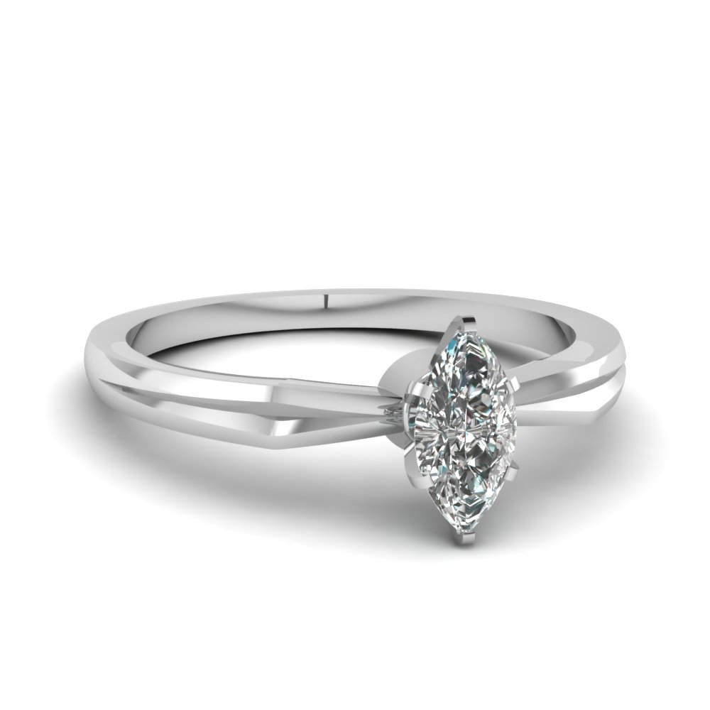 Tapered Marquise Cut Solitaire Ring