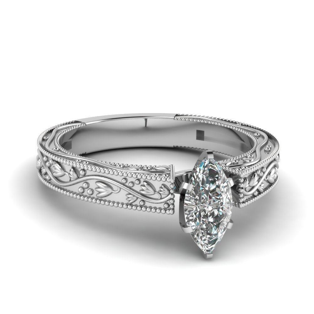 Floral Engraved Marquise Cut Diamond Solitaire Engagement Ring In 14K White Gold