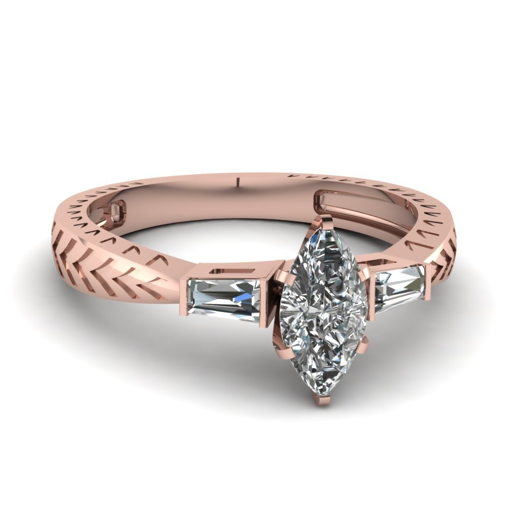 Tapered Vintage 3 Stone Marquise Engagement Ring In 18K Rose Gold