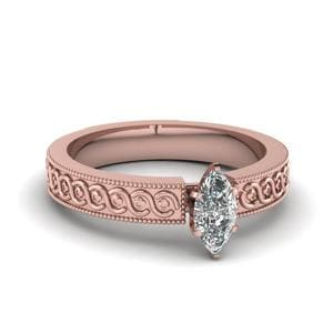 Engraved Milgrain Marquise Cut Solitaire Engagement Ring In 18K Rose Gold