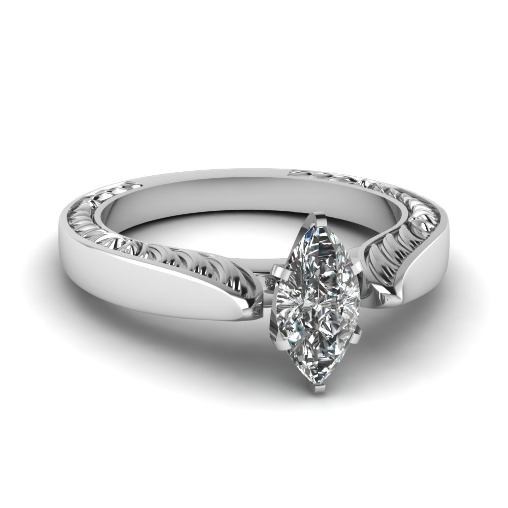 Marquise Shaped Solitaire Engagement Ring