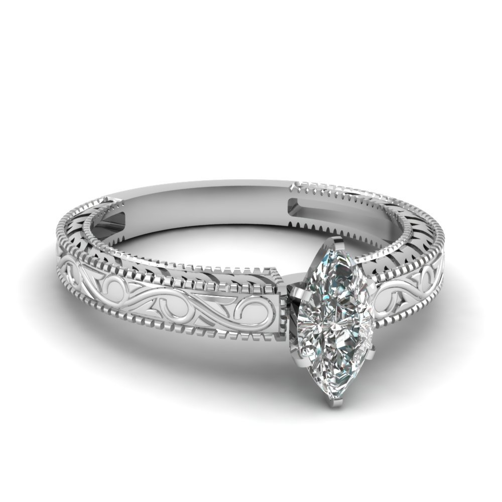 Vintage Engraved Marquise Cut Solitaire Engagement Ring In 18K White Gold