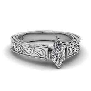 Vintage Marquise Solitaire Diamond Ring In 18K White Gold