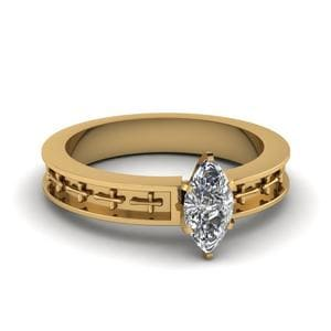 Cross Engraved Marquise Cut Solitaire Engagement Ring In 18K Yellow Gold