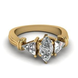 Trillion 3 Stone Marquise Diamond Engagement Ring In 18K Yellow Gold