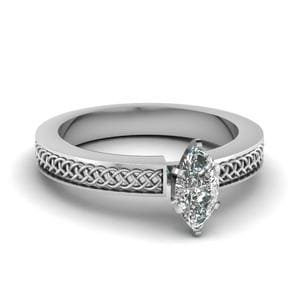 Weaved Design Marquise Cut Solitaire Engagement Ring In 950 Platinum
