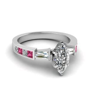 Baguette Channel Set Marquise 3 Stone Diamond Engagement Ring With Pink Sapphire In 14K White Gold