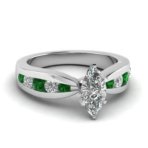 Tapered Channel Set Marquise Diamond Engagement Ring With Emerald In 18K White Gold