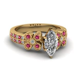 Marquise Cut Floral Engagement Rings