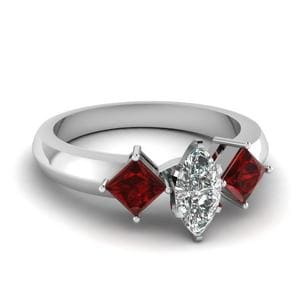 Kite Set 3 Stone Marquise Cut Engagement Ring With Ruby In 18K White Gold