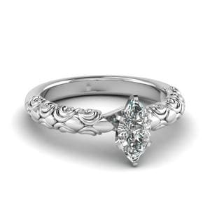 Marquise Shaped Diamond Filigree Accent Solitaire Engagement Ring In 950 Platinum