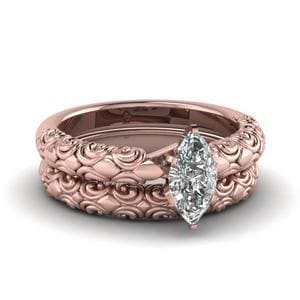 Filigree Solitaire Bridal Ring Set