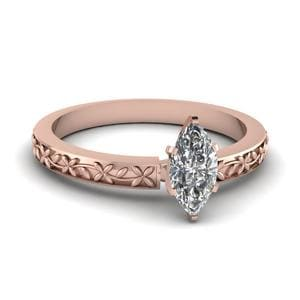 Floral Engraved Marquise Diamond Solitaire Ring In 18K Rose Gold