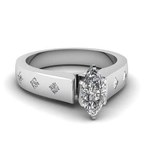 Flush Set Cathedral Diamond Ring