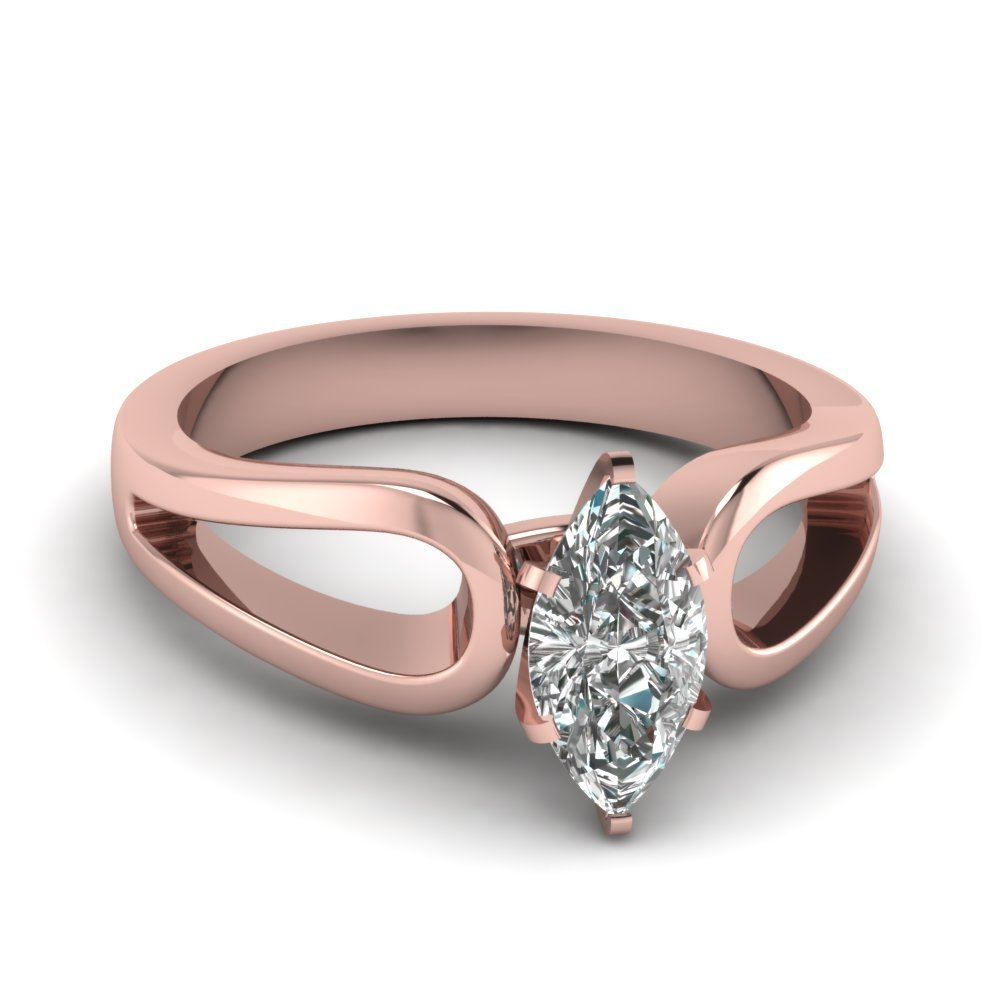 Marquise Shaped Diamond Loop Duet Soltaire Ring In 18K Rose Gold