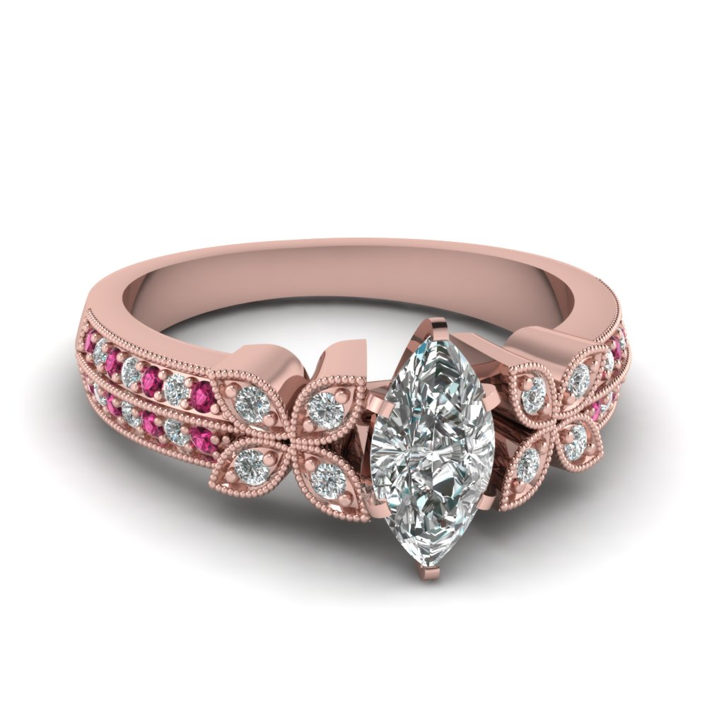 Pink Sapphire and Diamond Butterfly Engagement Ring
