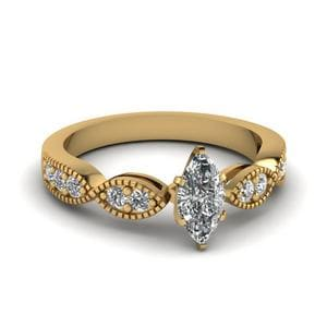 Marquise Shaped Art Deco Milgrain Diamond Engagement Ring In 18K Yellow Gold